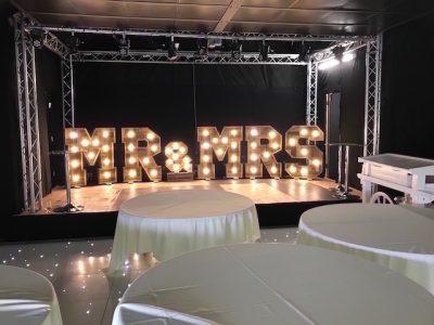 Mr-Mrs Wooden LED Letters