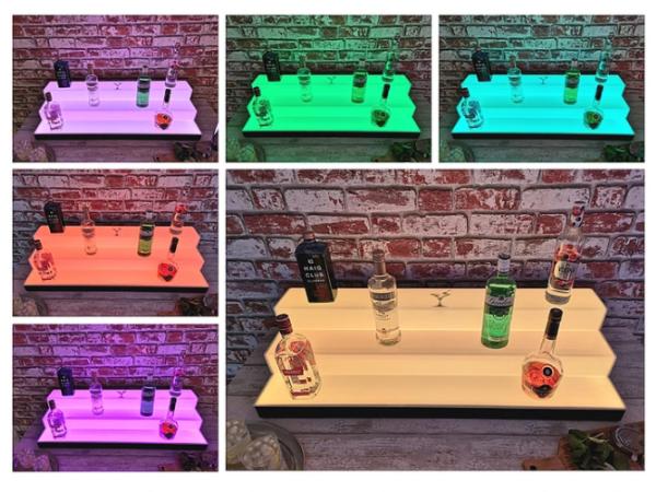 Back Bar Shelf 3-Tier Colour Changing LED Spirit Bottle Back Bar Shelf